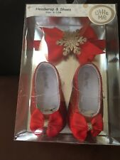 Girls LITTLE ME Holiday Headwrap & Shoes Set!! Size 6-12 Months New