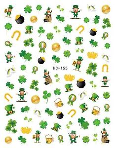 St. Patricks Day Holiday Nail Sticker Nail Decal Gold Coin Beer Leaf