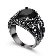 Size  6  Black Sapphire Big Stone Wedding Ring 18K Black Gold Filled Jewelry