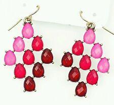 Stunning Boho style Pink Red drop chandelier earrings
