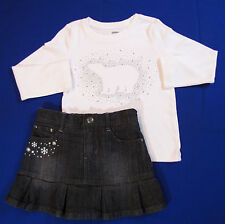 Gymboree Penguin Chalet 2Pc Set Sz 4 Black Jean Skirt White Polar Bear Top Gems