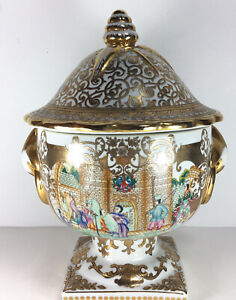 Early Antique PORCELAIN SOUP TUREEN Gilded Domestic Scene Marks?