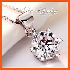 Sterling Silver 1.5ct Round Solitaire Solid Necklace Pendant Simulated Diamond
