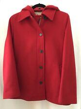 JCrew  Wool Hooded Jacket Coat 14 brilliant flame red-Ladies Medium