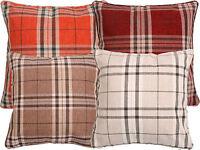 Luxury Tartan Check Stripe Cushion Cover Red, Orange, Cream, Natural