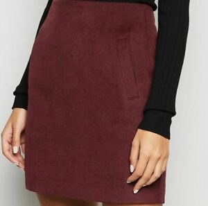 NEW!! SALE!!New Look Burgundy Brushed Zip Mini Skirt UK 8