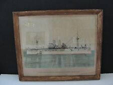 United States Battleship Maine-Vintage 1900s Hand Colored Drawing-Framed. RARE!