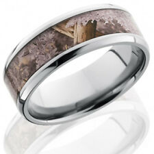 Titanium 8mm Flat Band with Beveled Edges and 5mm King's Desert Camo inlay