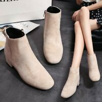 Womens Side Zip Ankle Boots Faux Suede Round Toe Block Heel Booties Winter Shoes