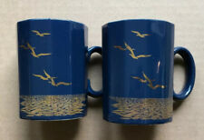 Otagiri Japan Blue Mug Paneled Gold Seagull Coffee Tea Cup Lot Of 2 8 Oz