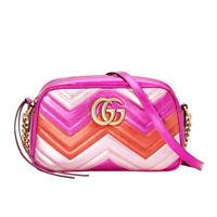 NWT Authentic Gucci GG Marmont Matelassé Chevron Leather Cross Body Bag