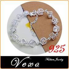 925 Sterling Silver Cube Charm Bracelet Bangle Ladies Womens Fine Jewelry BS04