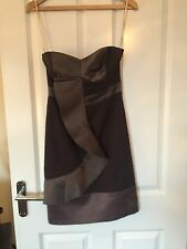 KAREN MILLEN Classic Strapless Taupe Dress With Ruffle Size 10