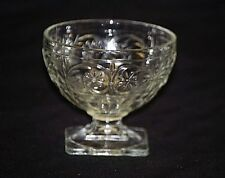 Old Vintage Ribbed Clear Glass Daisy w Sprigs Ice Cream Sherbet Dessert Cup Dish