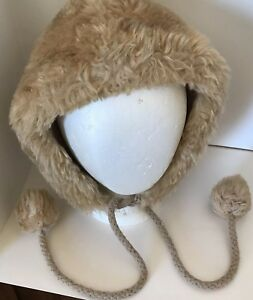 Vintage ESKIMO Inuit Style FAUX FUR Hat Cap With Fur Ball Tassels Union Made