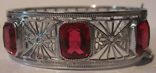 R&G CO GORGEOUS ART DECO VINTAGE HINGED SILVER FILIGREE RUBY RED GLASS BRACELET