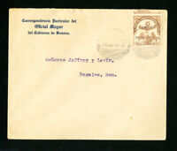 Mexico Cover 1913 w/ Stamp Revenue postmark 2x front/back