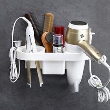 Hair Dryer Rack Storage Organizer Comb Holder Bathroom Wall Mounted Stand Set