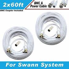 WHITE PREMIUM 120FT CCTV SURVEILLANCE BNC CABLES FOR 8 CH SWANN SYSTEM Dvr8-1000