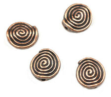 25 COPPER PLATED SPIRAL COIN BEADS 12MM