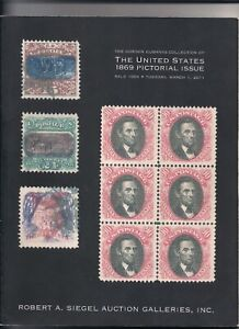 Robert Siegel Auction Catalog Sale 1004 The United States 1869 Pictorial Issue