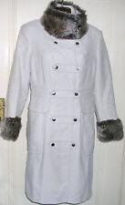 Gorgeous Stone Faux Fur Collar&Cuffs Millitary Style Coat by Karen Millen UK 12
