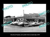 OLD LARGE HISTORIC PHOTO OF BROOKNEAL VIRGINIA, THE FORD CAR DEALERSHIP c1955