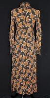 LONG  VINTAGE 1970'S-1980'S PRAIRIE STYLE FALL COLORS PRINT POLY DRESS SIZE 4