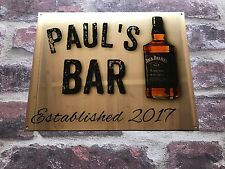 PERSONALISED BAR SIGN NOVELTY FATHERS DAY GIFT CHROME GOLD JACK DANIELS PUB SIGN