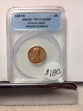 1987-S ANACS PR70 DCAM Lincoln cent rare perfect coin