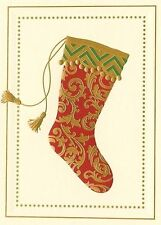 10 Crane & Co William Arthur Foil Fanciful Stocking Greeting Cards and Env - NWB