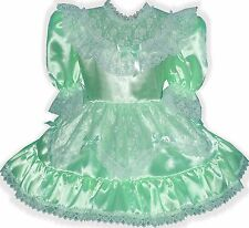 """Susie"" Custom Fit Lacy MINT SATIN Adult LG Baby Sissy Dress LEANNE"