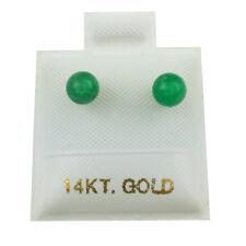 14K Yellow Gold - 4mm Green Jade Ball Stud Earrings (GE216)
