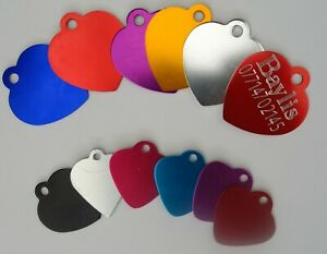 Personalised Pet Id Tag, Dog Identification Tags, Engraved, Heart Tag, dog Tags