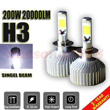 CREE COB H3 200W 20000LM LED Headlight Bulb Kit Low Beam Power 6500K White Light