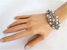 Beautiful Vintage Inspired Crystal Pearl Bangle Bracelet with AB Diamante Hinged