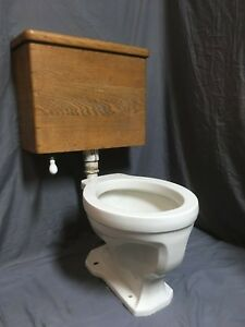 Antique Ceramic White Porcelain Toilet Bowl Bottom Lever Oak Wall Tank 26-19E