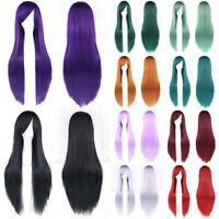 Fashion Long Anime Wigs 80cm Sleek Cosplay Party Straight Womens Hair Full Wig