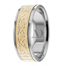 14K Gold Fancy Design Wedding Ring 7mm Two Tone Wedding Band Ring