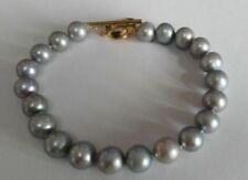 stunning 8.5-9mm tahitian gray natural pearl bracelet 7.5-8inch
