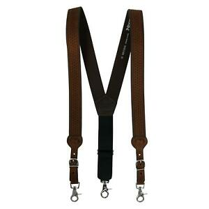 New Nocona Belt Co Men's Big & Tall Leather Braided Suspenders with Buckle Ends