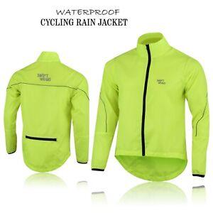 Mens Cycling Waterproof Rain Jacket Hi Visibility Running Full Sleeve Top Coat
