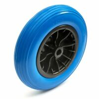 14 Inch 3.50-8 PU Puncture Proof Solid Tyre & Wheel 14'' PU Garden Trolley Blue
