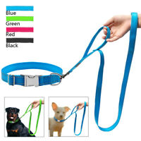 Reflective Nylon Dog Collar and Lead set Metal Buckle Quick Fit Small Large Dogs