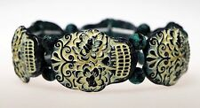 Green & White Sugar Skull  Stretch Bracelet