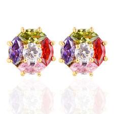 Fashion Women Multi-color AAA+ CZ Cubic Zirconia Stud Earrings Jewelry Gifts