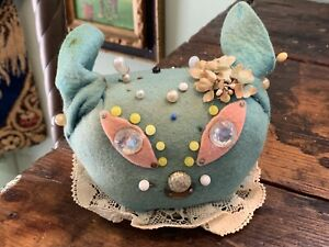 Adorable Vintage Cat Kitty Pin Cushion Felt with Millinery Flowers & Lace Trim