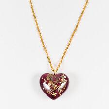 """Louis Vuitton Burgundy Gold Tone Monogram Heart Pendant """"Inclusion"""" Necklace"""