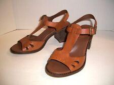 Kork-Ease T-Strap Sandals US Size 8 / UK Size 39 - Brown Leather Block Heels