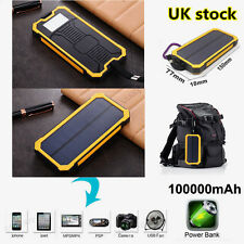 Waterproof Portable Solar USB Charger Power Bank For Tablets Phones 100000mAh UK